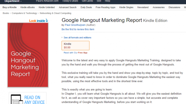 Google Hangout Report Hits Number 10 Bestseller Short Read Book on Amazon Kindle